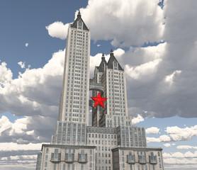 Riesiger Wolkenkratzer mit rotem Stern