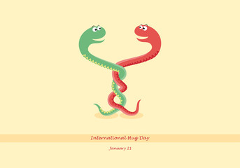 International Hug Day vector. Vector illustration of two entangled snakes. Cartoon character snake. Important day