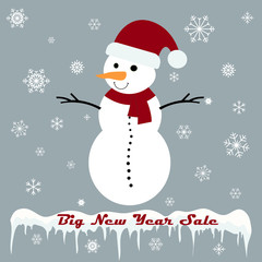 Snowman with Big New Year sale tag on a grey background
