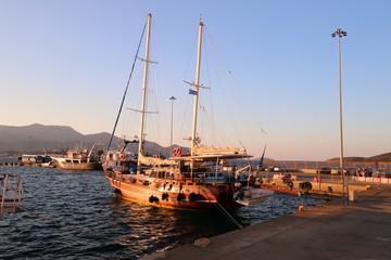 boats in Agios Nikolaos and his port , Crete , GREECE