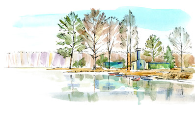 Boat station. Landscape of a lake and forest.Watercolor hand drawn illustration.