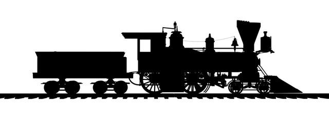 Silhouette einer amerikanischen Dampflokomotive aus den 1850er Jahren