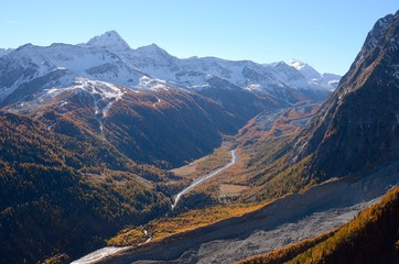 Val Veny autumn view from Mont Blanc, Valle di Aosta, Italy