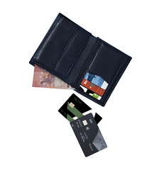 Wallet with money and credit cards isolated image