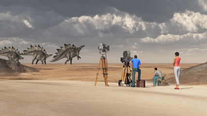 Film crew and the dinosaur Stegosaurus