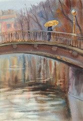 Bridge in the rain watercolor