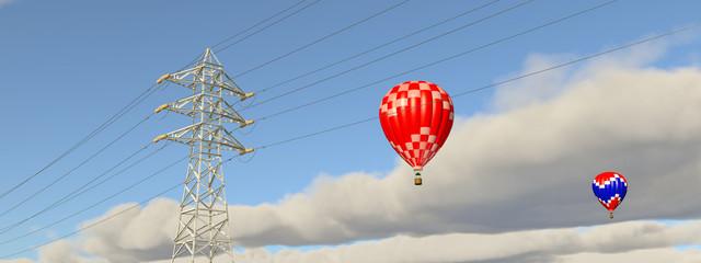 Hochspannungsleitung und Heißluftballone