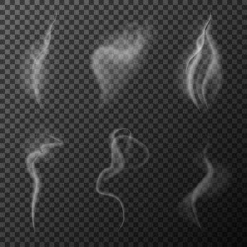 White smoke waves transparent