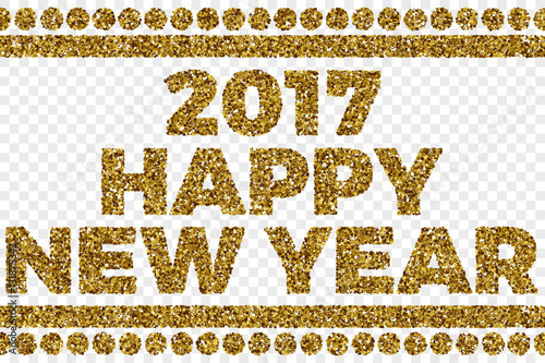 2017 happy new year golden shiny tinsel square particles abstract vector illustration on transparent background