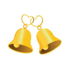 Golden wedding bell with love heart
