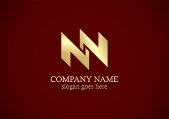 abstract shape letter n gold logo