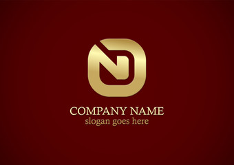 gold letter n square business logo