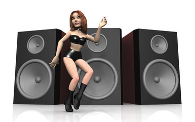 Tänzerin vor Lautsprecherboxen