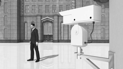Überwachungskamera und vorbeigehender Mann