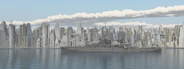 Großstadt am Meer und Kriegsschiff aus dem Zweiten Weltkrieg