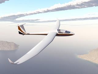 Segelflugzeug über einer Küstenlandschaft