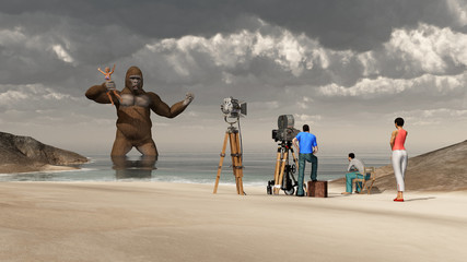 Huge gorilla, woman in his hand and film crew