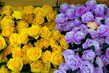 Beautiful bouquet of flowers.Yellow ranunculus flowers and scabi