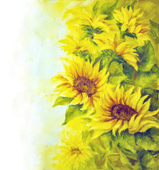 Sunny sunflowers background, illustration, oil painting on canvas