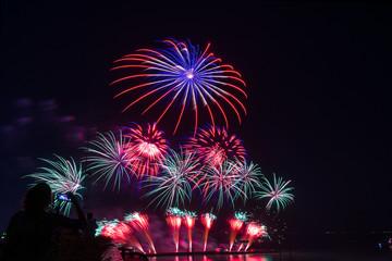 woman watching /  take a photo firework new year, beautiful colo