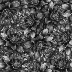 Seamless watercolor pattern with black and white peonies. Hand drawn monochrome watercolor illustration. Design for fabric, textile, wrapping paper, card, invitation, wallpaper, web design.
