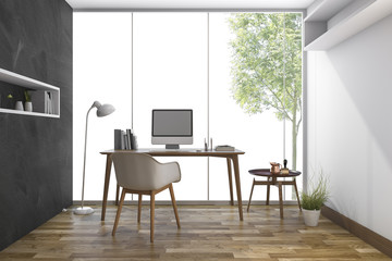 3d rendering working room with nice view from window