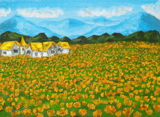 Meadow with orange poppies, oil painting