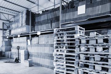 warehouse of cardboard