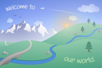 Vector Landscape with Mountains. Welcome to our world! A simple illustration with rolling hills, a mountain range, soaring birds and a plane flying in the clear sky as the sun rises.