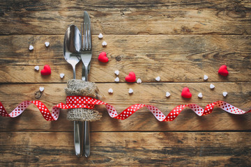 valentine's day background, spoon, fork, knife, hearts
