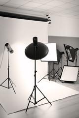 Professional photo studio with lighting equipment