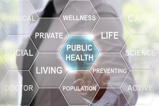 woman presses public health icon on virtual hexagons screen. Businessman touched public health button on touch screen. Medicine, health, treatment, technology, therapy, hexagon, concept, healthcare.