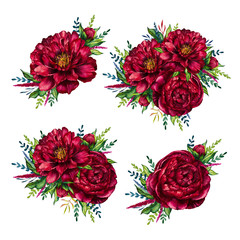 Set of watercolor red peonies bouquets, flower peony, watercolor flower, watercolor peony isolated on white background, set of flower, design for mother's day, women's day, wedding, card, holiday