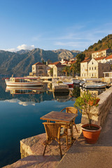 Printed kitchen splashbacks City on the water Embankment of Perast town on a sunny winter day. Bay of Kotor, Montenegro