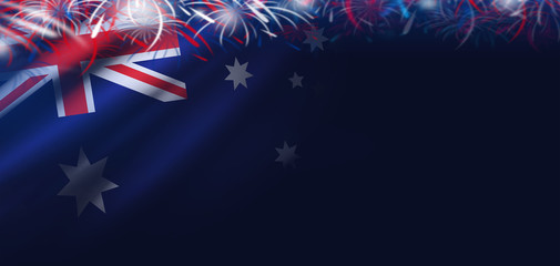 Australia day background of flag and firework