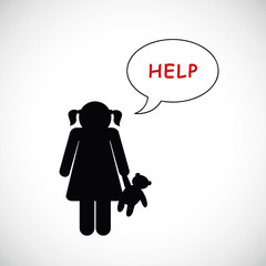 mädchen mit teddy bittet um hilfe
