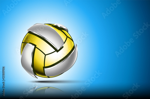 """Background Abstract Sport Volleyball Blue Yellow Ball: """"3d Abstract Logo Of Volleyball Ball. Neon Sphere With"""