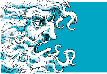 An angry, cartoon deity with a swirling beard and grumpy face.