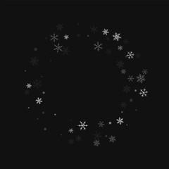 Sparse snowfall. Bagel shape on black background. Vector illustration.