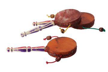 Damaru drum percussion instrument with a handle