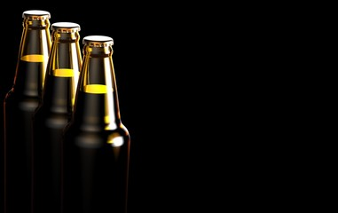 Close up bottles of beer on a black background. 3d illustration.