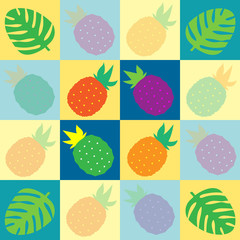 Tropical pinapples and palms in multiple vibrant colors on blue and yellow checkered pattern, seamless background