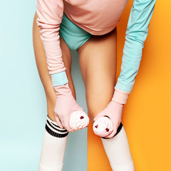 Vanilla Sexy pop art fashion. Minimalism. Fashion clothes fitnes