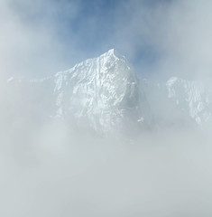 View of himalayan peaks in mist from Thame - Nepal