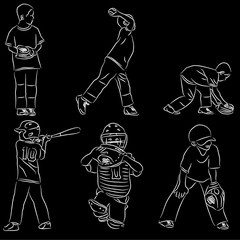Fototapeten Ensemble Several different baseball positions vector illustration sketch line art on black background