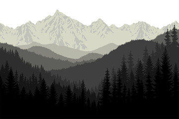 Grey mountains forest retro vintage vector background illustration.