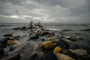 Michigan Haunted Beach. Pier on Lake Huron in Forester is the site of a famous Michigan ghost story.  Reportedly a specter, known as Minnie Quay is seen wandering the beach by the old pier pilings.