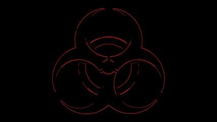 red rimmed biohazard symbol