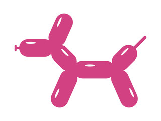Toy balloon dog or balloon animal flat pink icon for apps and websites