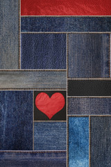 Denim jeans with leather texture, and heart shape background, patchwork denim jean with leather pattern
